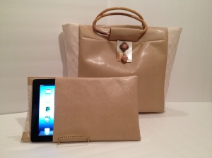 Golden Faux Snake skin Tote and Tech iPad Sleeve