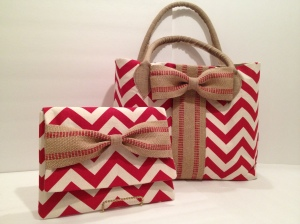 Combo Red Chevron read to travel from work to evening out.