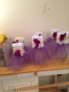 Baby Shower centerpieces, tutus and a little surprise!