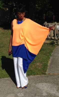 Orange and Blue block top with full drape sleeve.