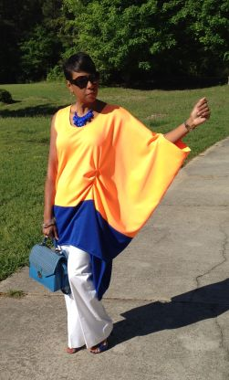 Lovely drape sleeve in bright colors perfect for the spring!