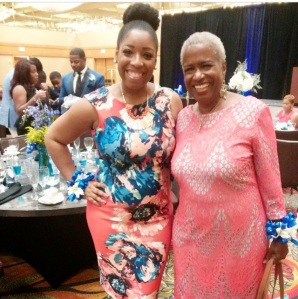 Gabbie pictured here with Monica Kaufman Pearson who gave introduction for Gabbie's performance for JSU scholarship brunch!